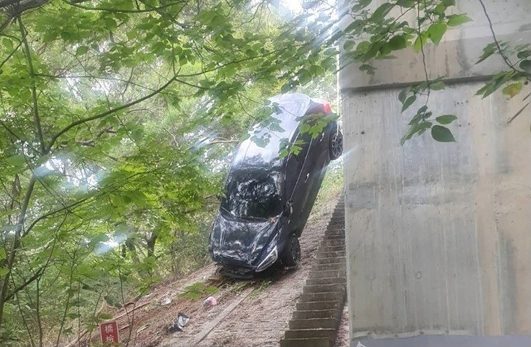 墜落邊坡的休旅車所幸有大樹護著,才未造成嚴重傷害。(記者蔡彰盛翻攝)