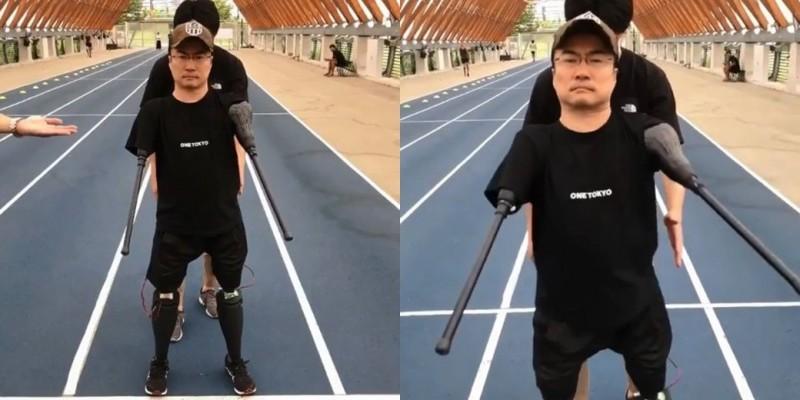 乙武洋匡使用高科技行動輔具成功站立並且行走。(圖取自內田直樹Instagram)