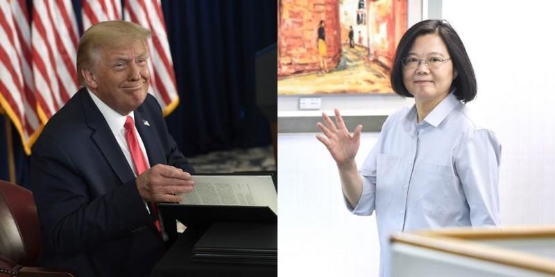 日本媒體指出,阿札爾此行是要代表總統川普(左)與台灣總統蔡英文(右)討論建立新國際衛生組織的可能性。(左圖美聯社,右圖資料照)