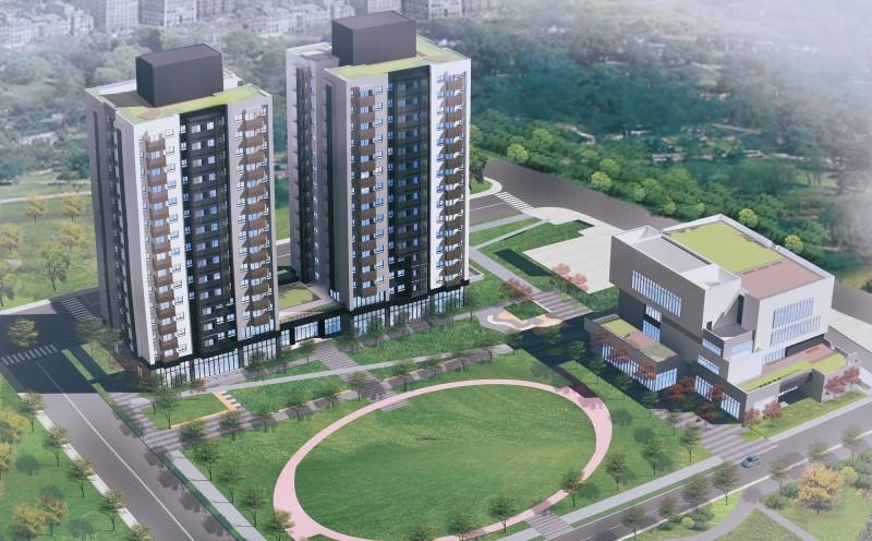 桃園市政府住宅發展處發包的楊梅一號社會住宅完工示意圖。(記者李容萍翻攝)