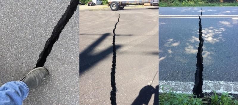 美國北卡羅來納州於美東時間9日上午8點07分發生芮氏規模5.1地震,此為該州自1926年以來最嚴重的地震,目前已先傳出當地有一些房屋出現程度不一的毀損,以及路面裂開等災情。(圖擷自推特)