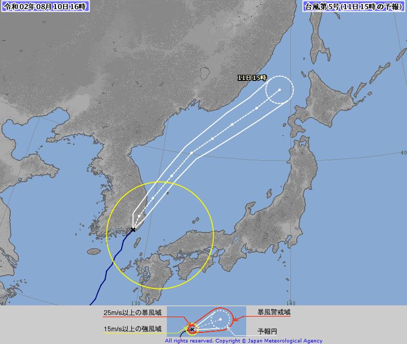 第5號颱風「薔蜜」今下午登陸南韓慶尚南道巨濟島,預計中心傍晚穿越浦項市後進入半島東方海域。(圖擷自日本氣象廳)