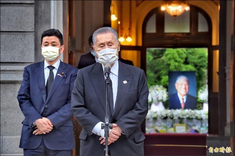 日本前首相森喜朗昨率團來台弔唁前總統李登輝。(記者方賓照攝)