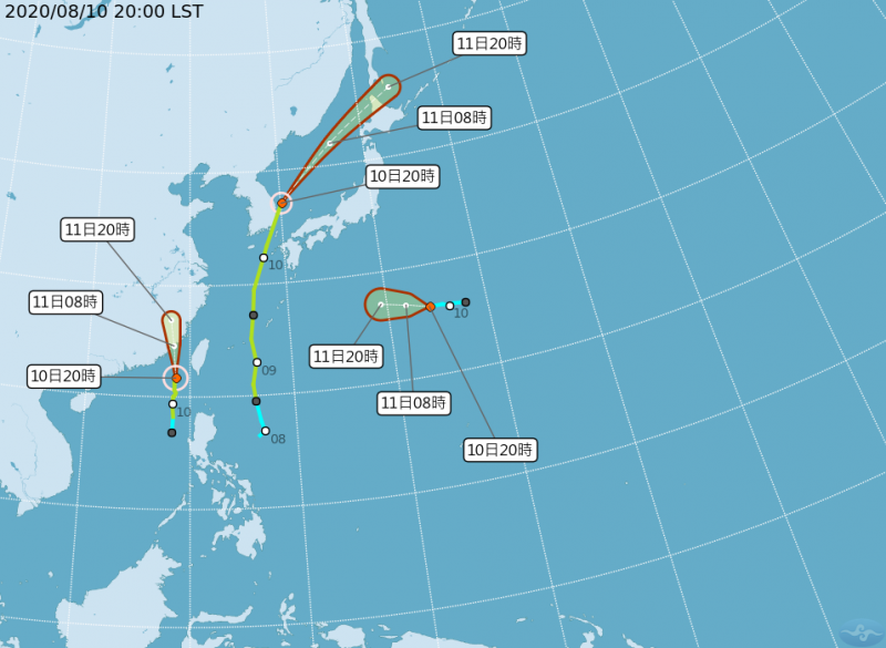 明(11)日受到米克拉颱風外圍環流影響,全台各地皆有降雨機率,預計要到明天晚上各地降雨才會趨緩。(圖擷取自中央氣象局)