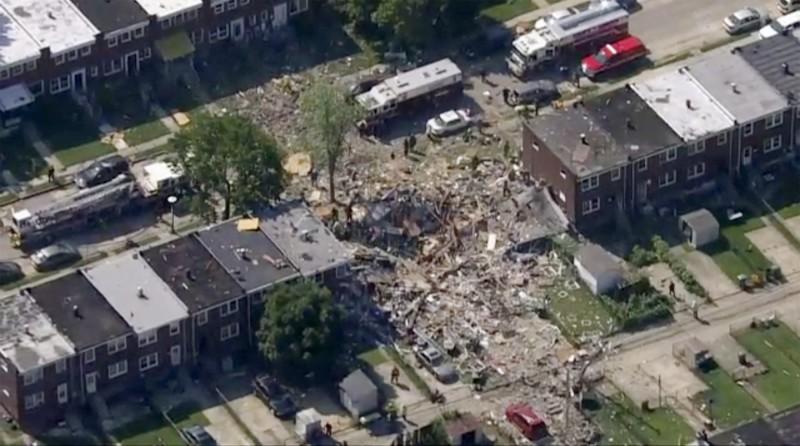 美國巴爾的摩市西北部住宅區發生瓦斯爆炸事件。(美聯社)