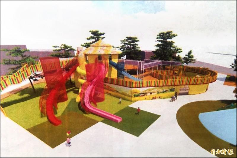 苑裡親子公園主設施為樹屋遊戲場,包括5.3米高的懸空式溜滑梯、天空隧道、多項攀爬設施等。(記者鄭名翔攝)