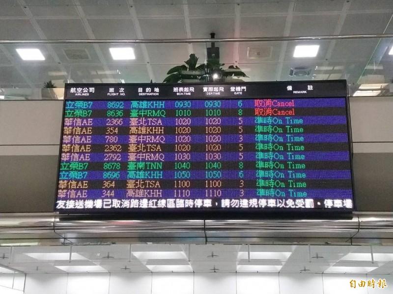 澎湖機場告示牌,上午九時前班次都取消。(記者劉禹慶攝)