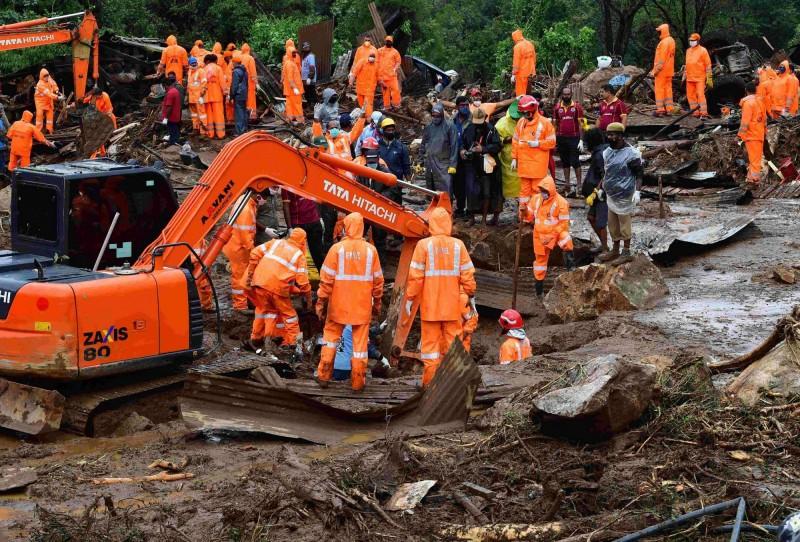 印度西南部喀拉拉邦發生山體滑坡意外。(法新社)