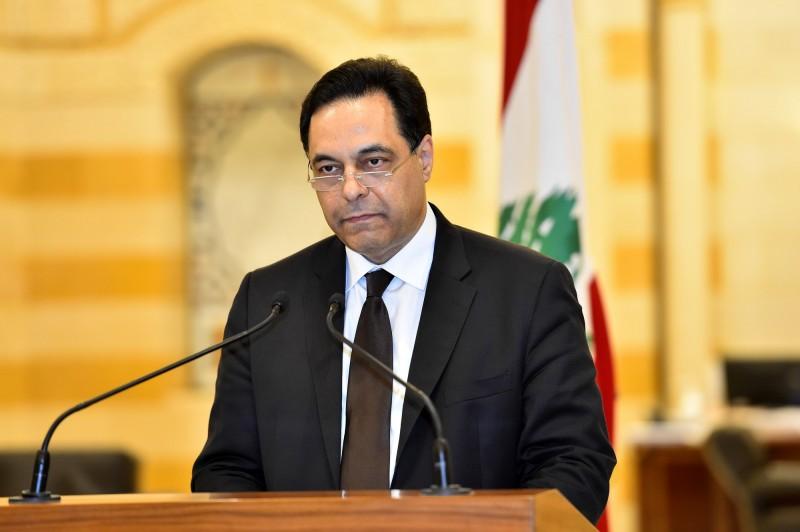 黎巴嫩總理迪亞布週一晚間宣布內閣總辭。(歐新社)