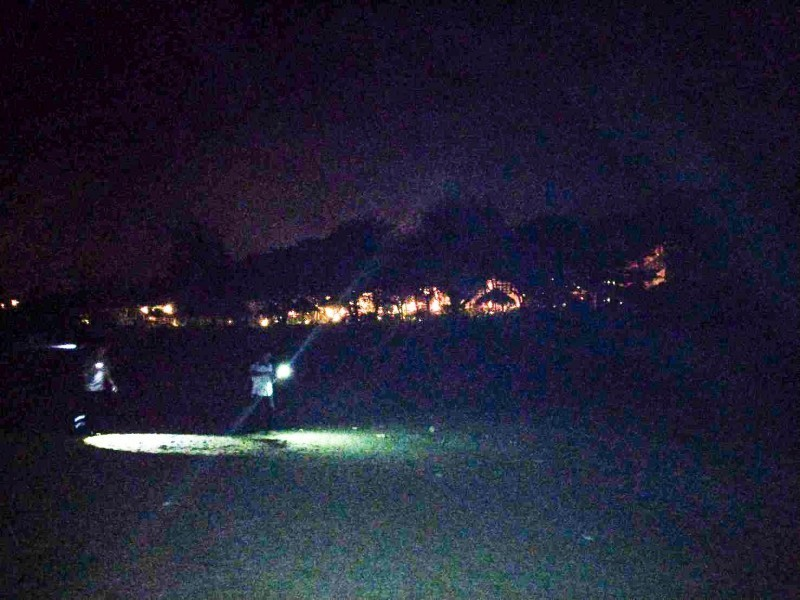 飯店立即調降光線,讓海巡署、海生館、墾管處順利將迷路小海龜送回大海。(記者蔡宗憲翻攝)