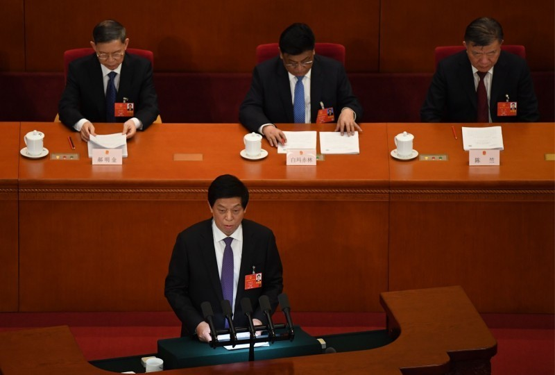 中國全國人大常委會今日全票通過,香港本屆立法會確定延任1年。(法新社資料照)