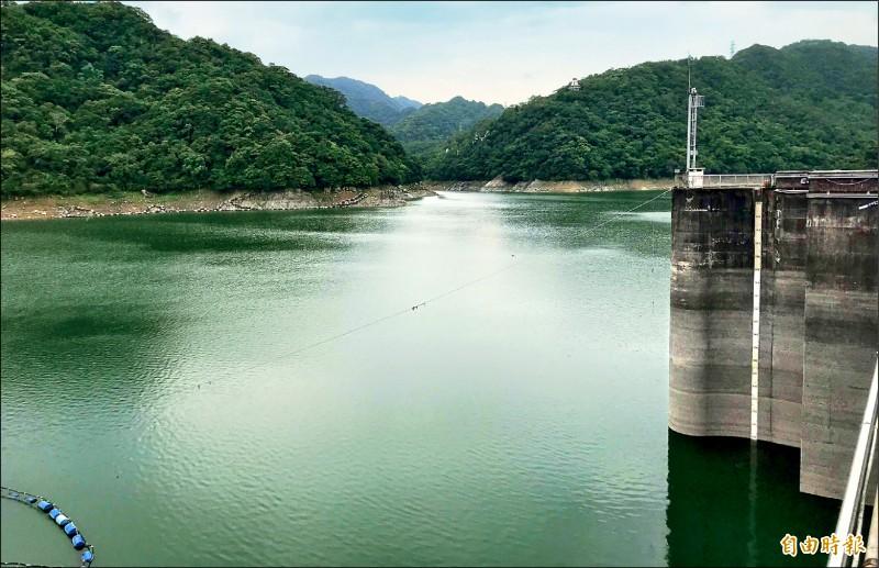 7月沒颱、8月接連2個颱風的雨量有限,石門水庫水位是營運56年來同日枯旱排名第9名。(記者李容萍攝)