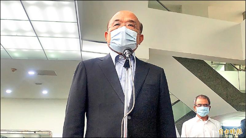 行政院長蘇貞昌昨嗆中國「別對台灣比手畫腳。」(記者許倬勛攝)