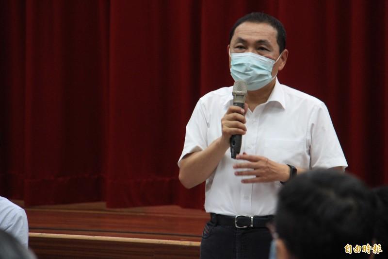 對於香港政府逮捕黎智英、搜查香港蘋果日報,侯友宜認為,傷害新聞自由非常遺憾。(記者邱書昱攝)