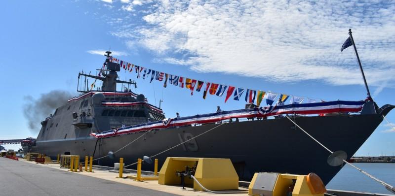美國海軍自由級近岸作戰艦「聖路易號」(LCS 19)8日舉行成軍儀式,正式加入艦隊。(照片取自聖路易號臉書)