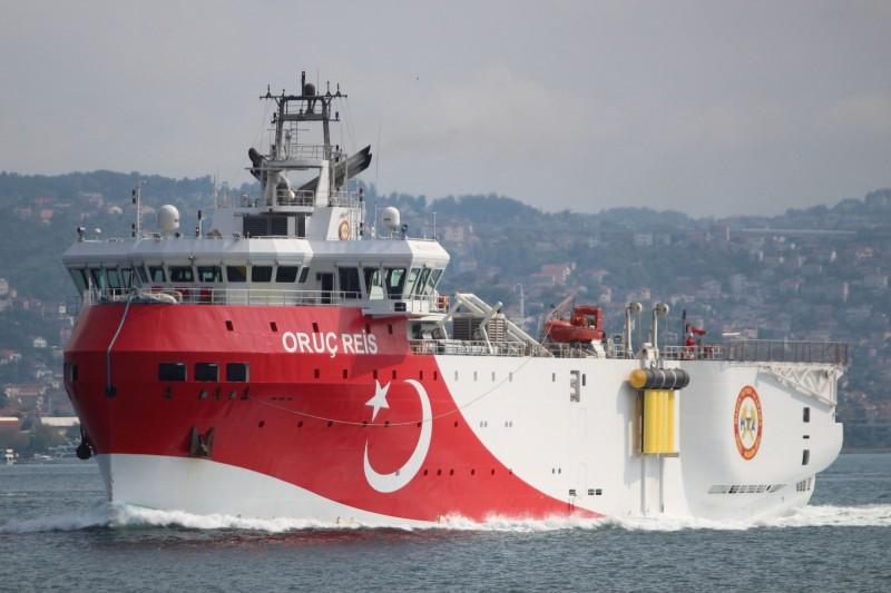 土耳其近期派船隻前往地中海東部探勘地下油氣田,導致土耳其和希臘兩國的緊張情勢加劇。(路透)
