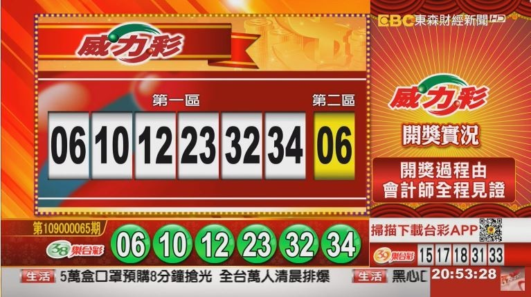 威力彩、38樂合彩開獎號碼。(圖擷取自東森財經新聞)