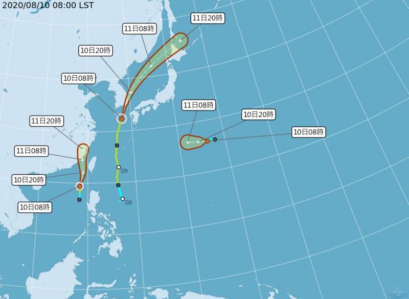 今年8月1至10日西北太平洋出現多個颱風先後生成的共舞景象。(圖擷取自氣象局)