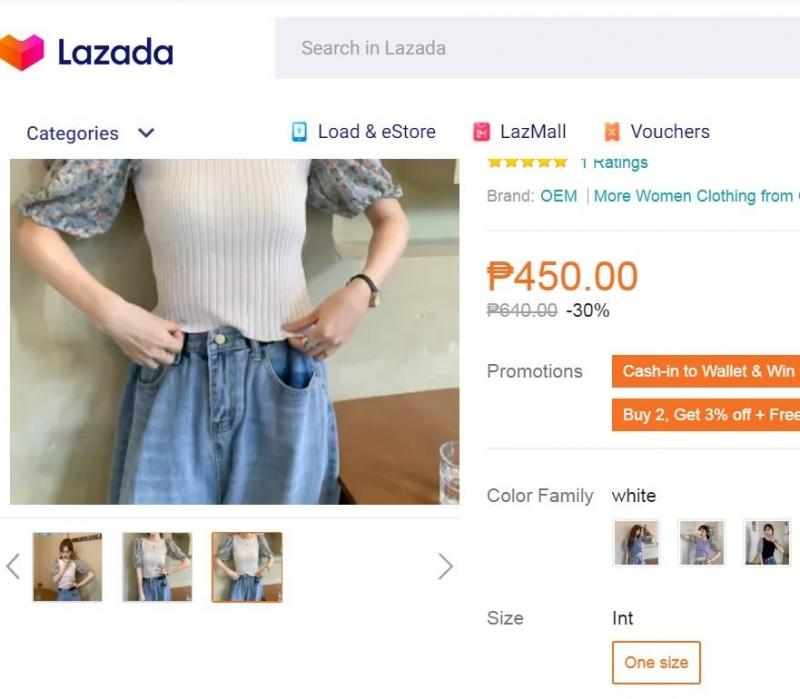有網友就穿上了流行的碎花拼接上衣,預設自己會得到老公的大力稱讚,不料卻被說像是「阿嬤風格」,讓她相當傻眼。示意圖。(翻攝Lazada網站)