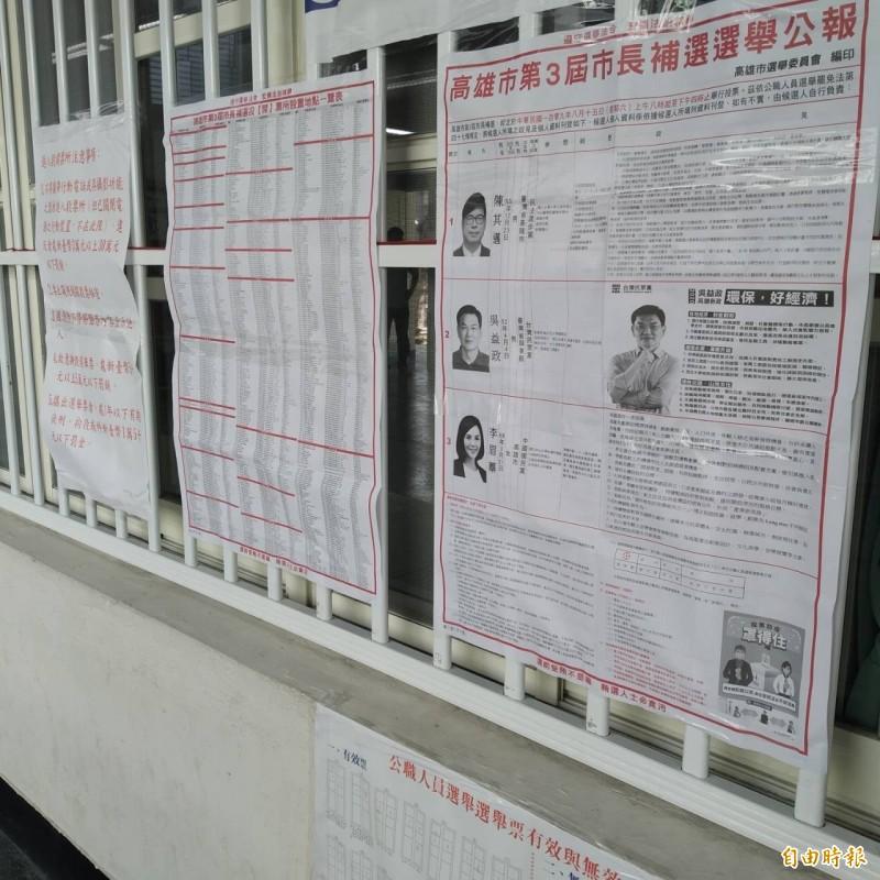 高雄市左營區在40分鐘,發生拍照及撕毀選票案件。(記者洪定宏攝)