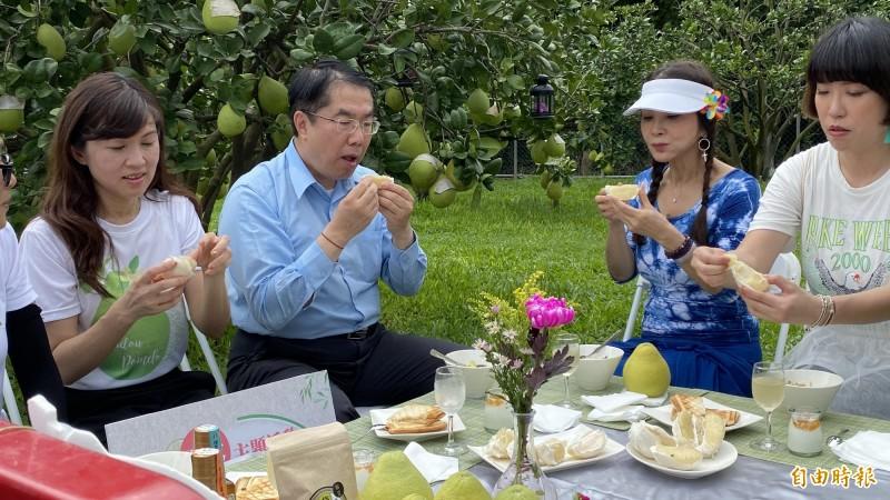 台南市長黃偉哲(左二)今天和2位最美農會總幹事孫慈敏(左一)、最美歐巴桑稱譽的藝人陳美鳳(右二)到柚園示範時尚採果樂,行銷麻豆文旦。(記者楊金城攝)