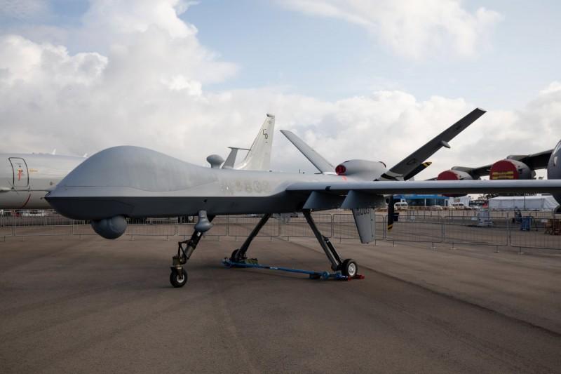 美國日前傳出打算出售4架MQ-9B「海上衛士」無人機給台灣,比利時則確定以1億8886萬6819美元(約新台幣55.5億元)買下4架。圖為MQ-9死神無人機。(彭博)