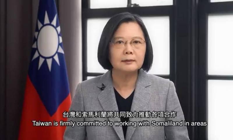 總統蔡英文錄製影片祝賀台索關係。(圖取自蔡英文臉書)