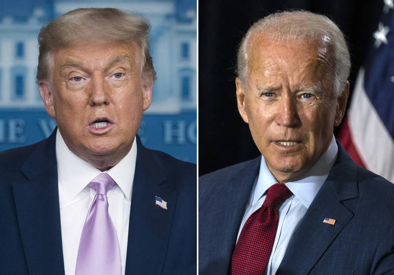2020美國總統大選將在11月3日舉行,一項最新研究顯示,三大電視網的晚間新聞時段,現任總統川普(左)的負面新聞比民主黨籍總統候選人拜登(右)多150倍。(美聯社)