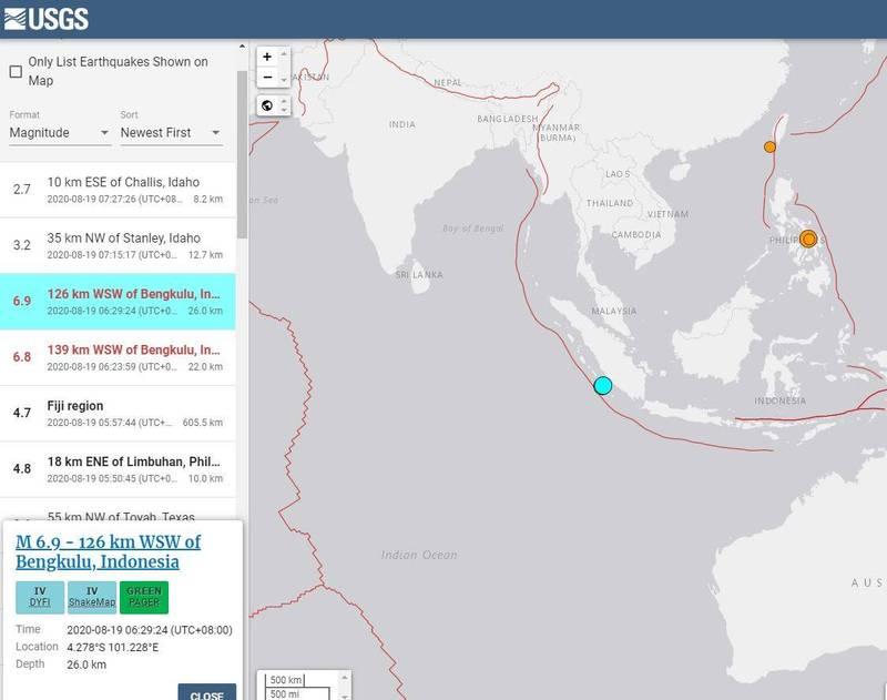 印尼蘇門答臘發生芮氏規模6.8、6.9強震。(圖片擷取自USGS)