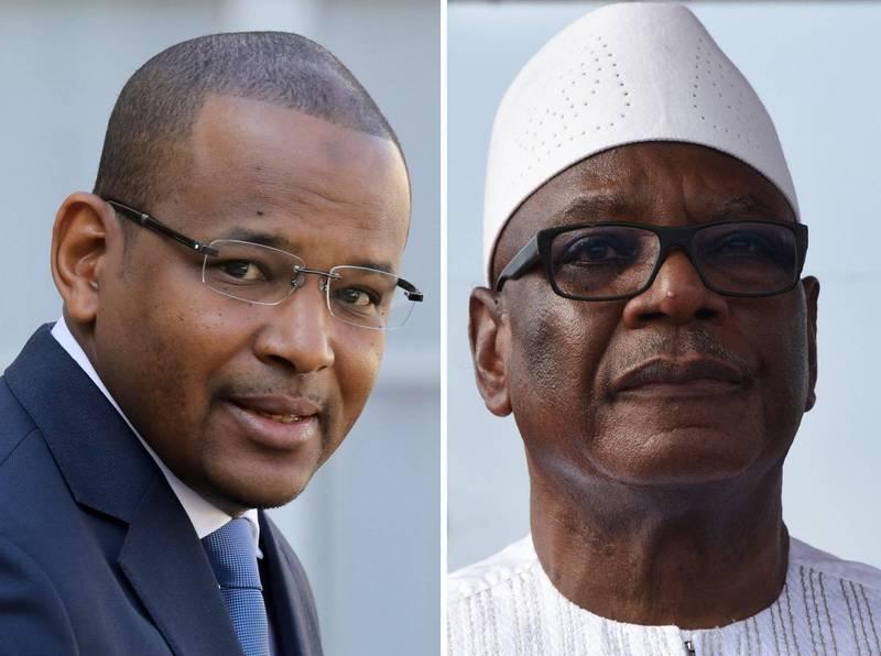 西非馬利發生叛亂,總統凱塔(Ibrahim Boubacar Keita)(右)凱塔及總理席斯(Boubou Cisse)(左)雙雙遭到挾持。(法新社)