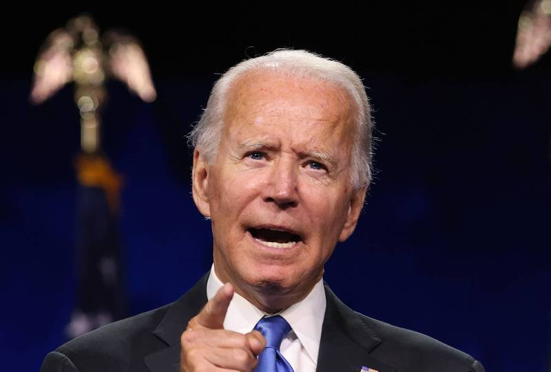 拜登接受民主黨提名,11月總統大選挑戰現任總統川普。(法新社)