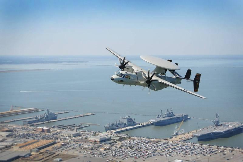 美國E-2D AHE(Advanced Hawkeye)艦載預警機。(圖:擷取自美國海軍網站)