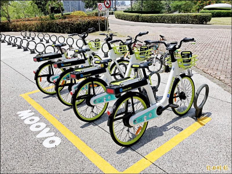 MOOVO電動輔助自行車昨天在淡水區率先啟用。(記者陳心瑜攝)