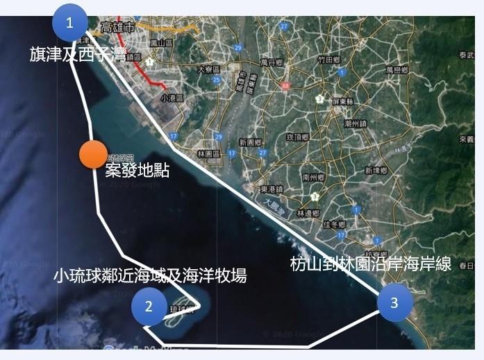 海保署調查高雄及屏東沿海,確認油污未擴散。(記者洪定宏翻攝)