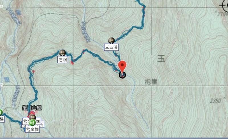 受傷山友依提供的座標,事發地點在石洞營地附近。(記者花孟璟翻攝)