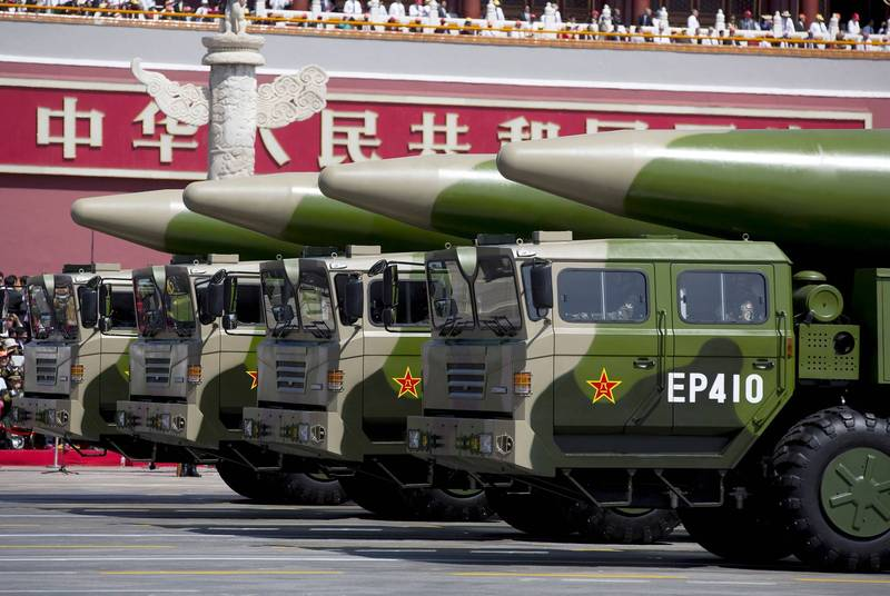The Dongfeng-26 medium-range ballistic missile displayed by the PLA at the military parade.  (Reuters)