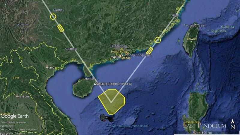 中國解放軍26日從浙江省及內陸青海省分別向南海發射東風-21D、東風-26B中程彈道飛彈。(圖取自Henri Kenhmann推特)