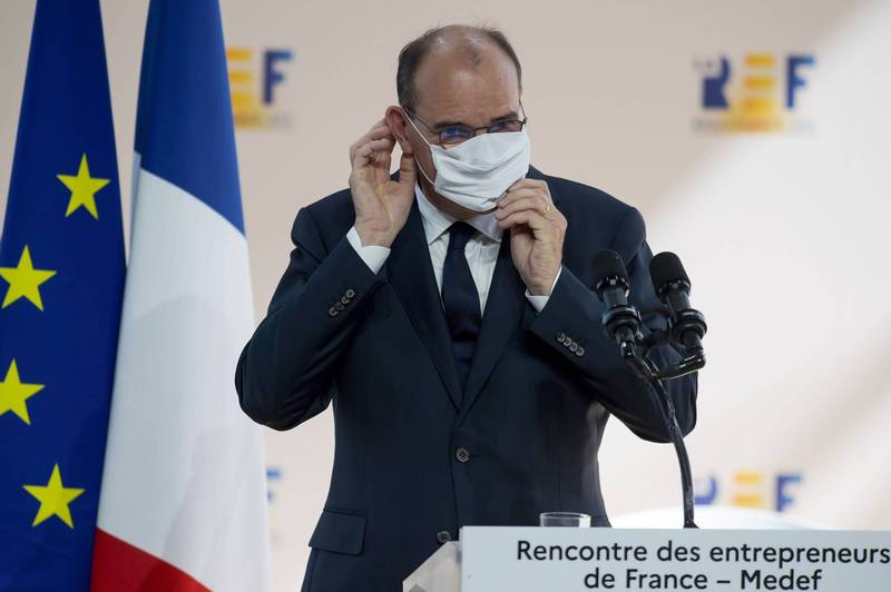 France added 5,429 confirmed cases in a single day, the highest since the epidemic in early April. French Prime Minister Castel (pictured) called on the public not to panic.  (AFP)