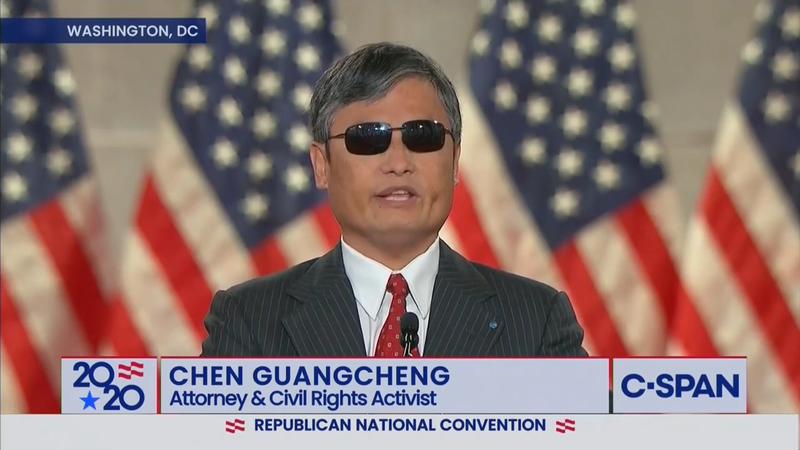 中國維權律師陳光誠26日在共和黨全國黨代表大會上致詞。(圖擷取自Trump War Room YouTube)