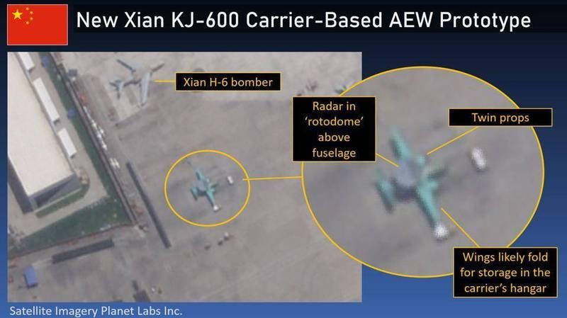 疑似解放軍最新型預警機「空警六OO」在陝西閻良被星球實驗室公司被拍到,一旁還有「轟6」轟炸機。(圖擷自Lu Li-Shih臉書)