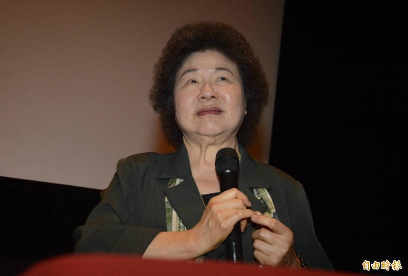 監察院長陳菊出席國家人權委員會舉辦「人權電影欣賞-我的兒子是死刑犯」,開映前陳菊致詞。(記者王藝菘攝)