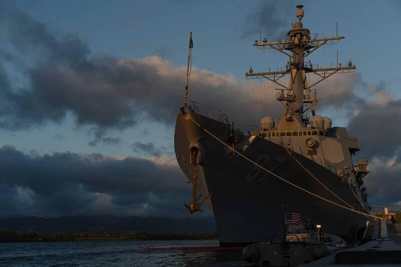 圖為美軍伯克級神盾艦「海爾賽號」神盾驅逐艦。(圖擷取自USS HALSEY DDG 97臉書)