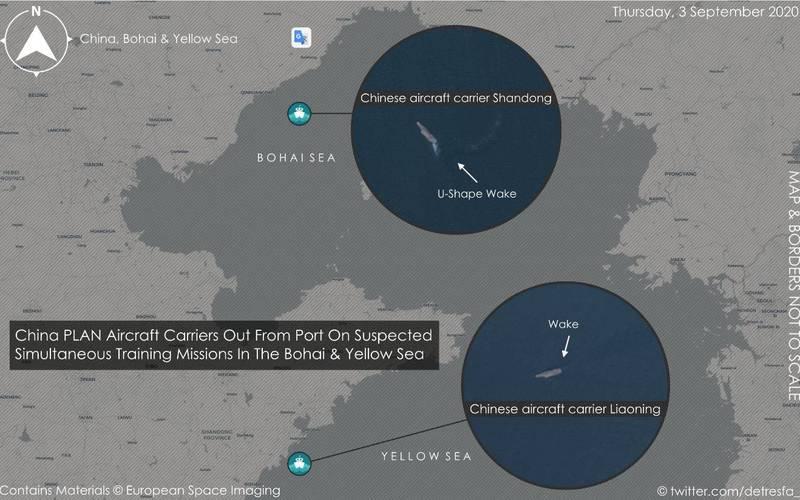 有衛星拍到中國航空母艦遼寧號、山東號已離開停靠港口,昨(3日)分別現身於黃海和渤海。(圖擷自@detresfa_推特)