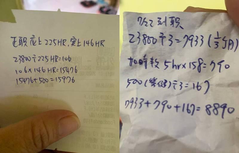 網友表示女兒暑假打工,8月工作146小時只拿到1萬5976元。(圖擷自爆怨公社)