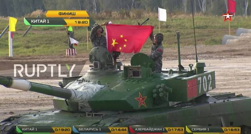 The Chinese People's Liberation Army has repeatedly embarrassed in this year's international military competition, and on August 23 it also took the five-star flag against it.  (Picture cut from Youtube video)
