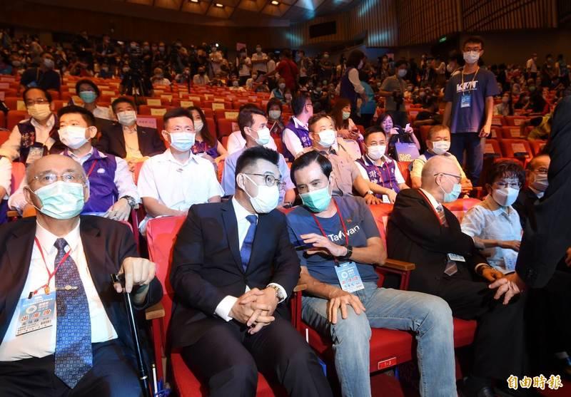 馬英九今天上午參加國民黨全代會時表示,兩岸新論述本來就是「九二共識」的內涵,其內涵為「一中各表」。(記者方賓照攝)