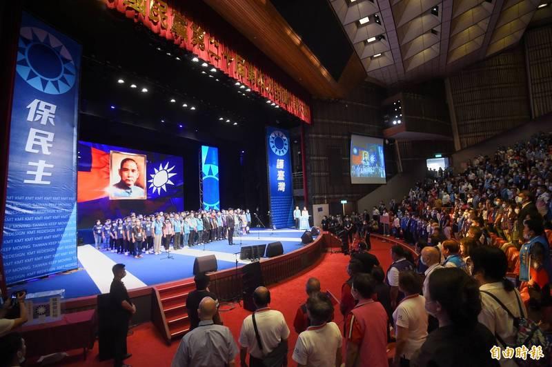 國民黨6日舉行第二十屆第四次全國代表大會,下午由黨主席江啟臣主持閉幕典禮。(記者方賓照攝)