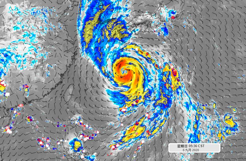 位於台灣東北方的海神颱風雖出現「雙眼牆」結構,強度已過顛峰,但目前仍持續加速前進,估計今晚將侵襲日本西部,並於明日上午登陸韓國。(圖擷自臉書)
