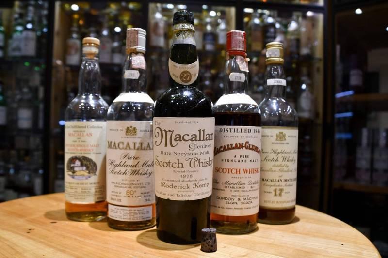 英國28歲男子在出生後,爸爸每年都會送他1瓶18年麥卡倫單一麥芽威士忌當生日禮物,累計到現在28瓶一共花了5000英鎊(約新台幣19.3萬元),由於麥卡倫升值的原因,售出價格漲到4萬英鎊(約新台幣155萬元)。麥卡倫威士忌示意圖。(法新社)☆飲酒過量 有害健康 禁止酒駕☆