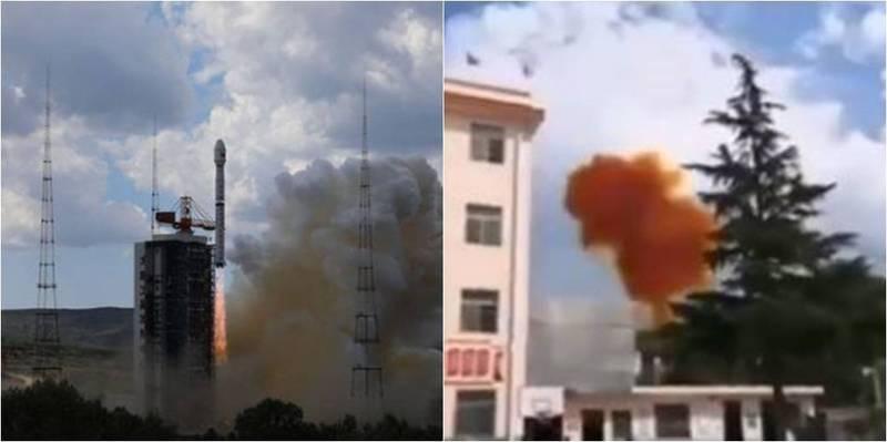 中國7日下午1點57分發射長征B型火箭(左),殘骸(右)落於500公里外的民宅旁山坡上。(圖取自微博)